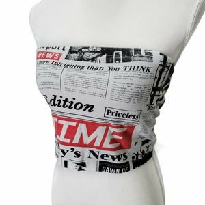 Forever 21 Newspaper Graphic Cropped Tube Top